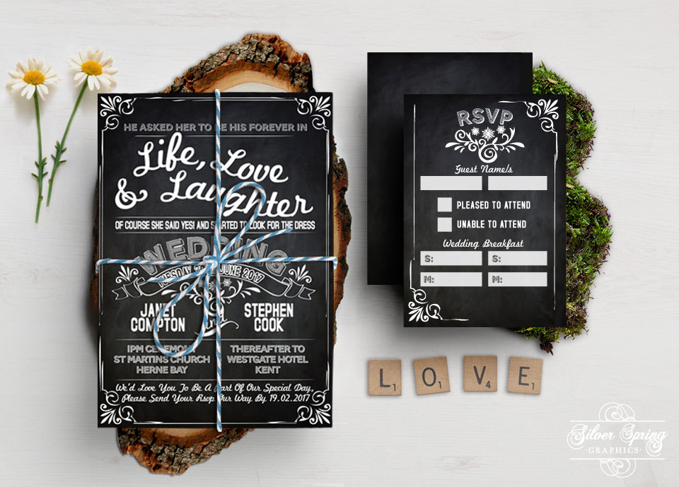 A6 Love Note Themed Invitation Set
