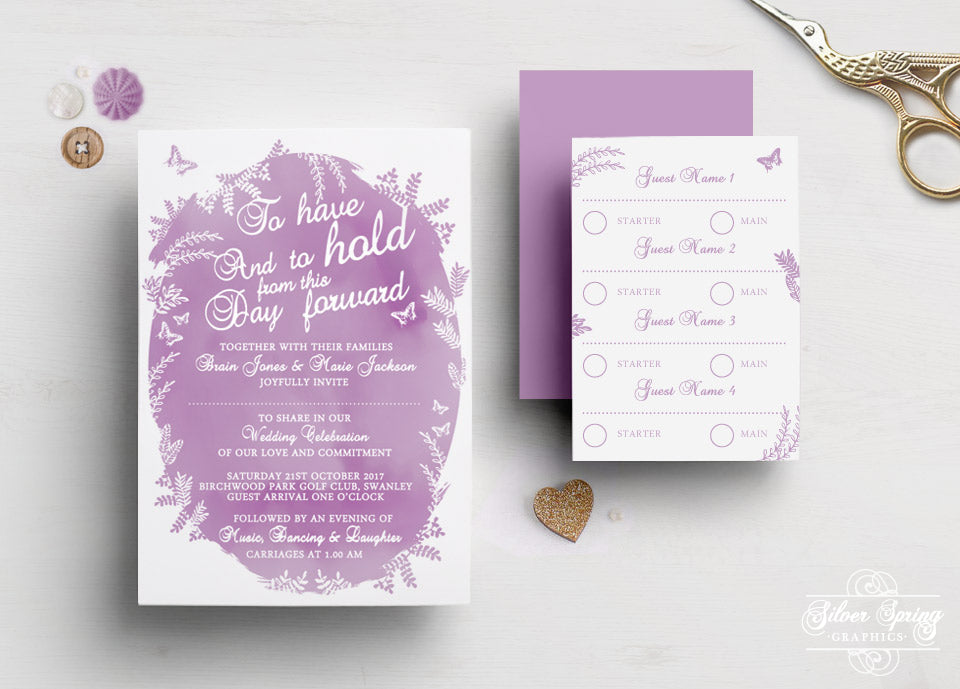 A6 Wild Flower Watercolour Themed Invitation Set