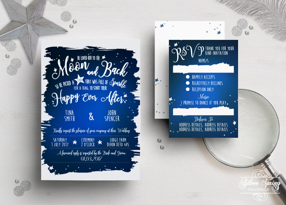 A6 Stars and The Moon Themed Invitation Set