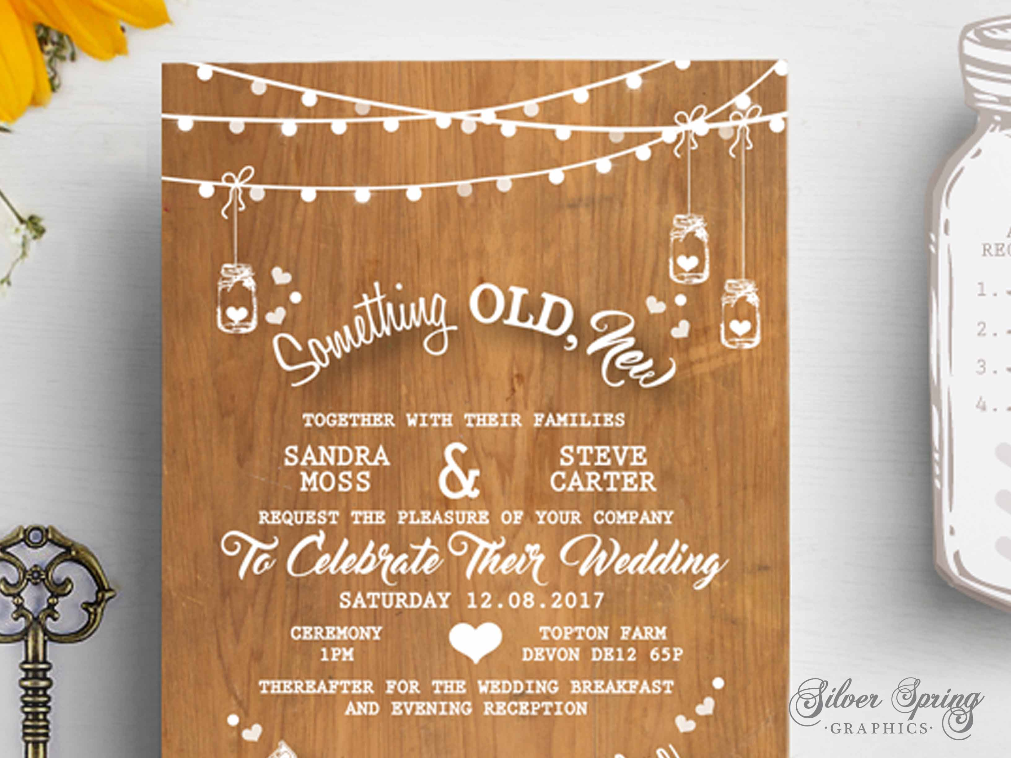 A6 Country Rustic Themed Invitation Set