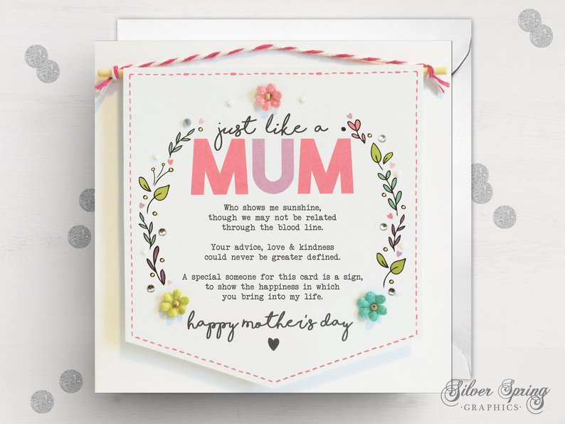 Mother's Day -  Just Like a Mum Bright Banner Card