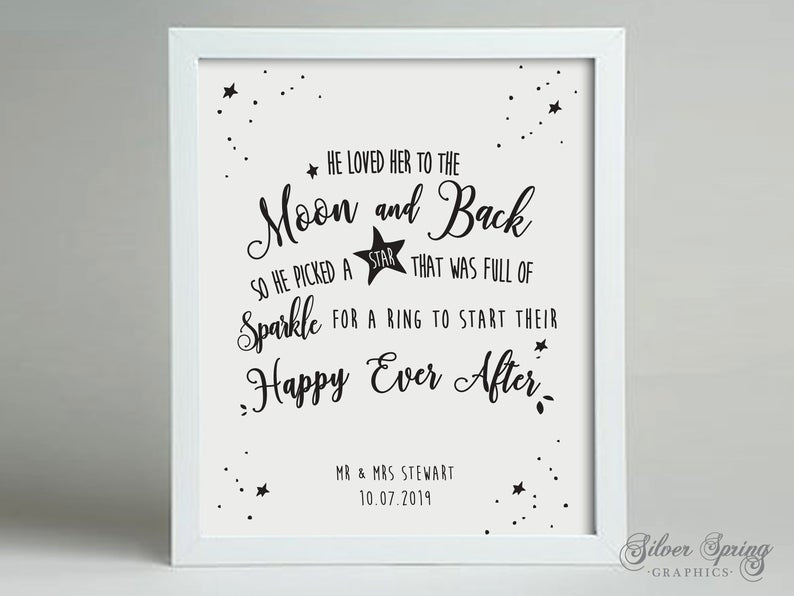 Wedding Anniversary Personalised Moon and Back Framed Print