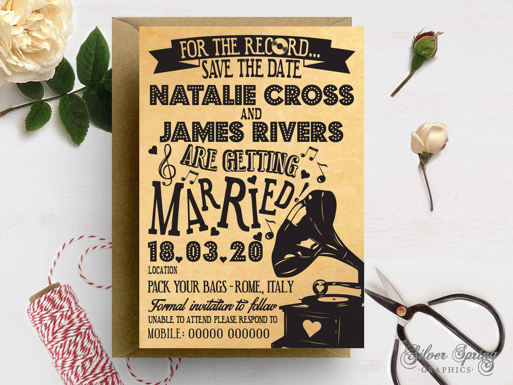 A7 Music Notes Themed Save the Date