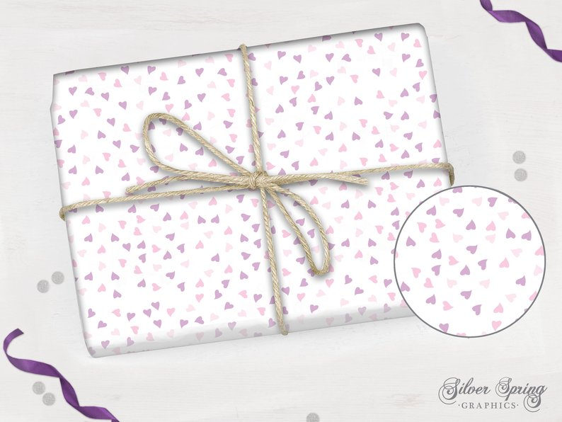 Blossom Heart Blessings - Wrapping Paper - Pink and Purple