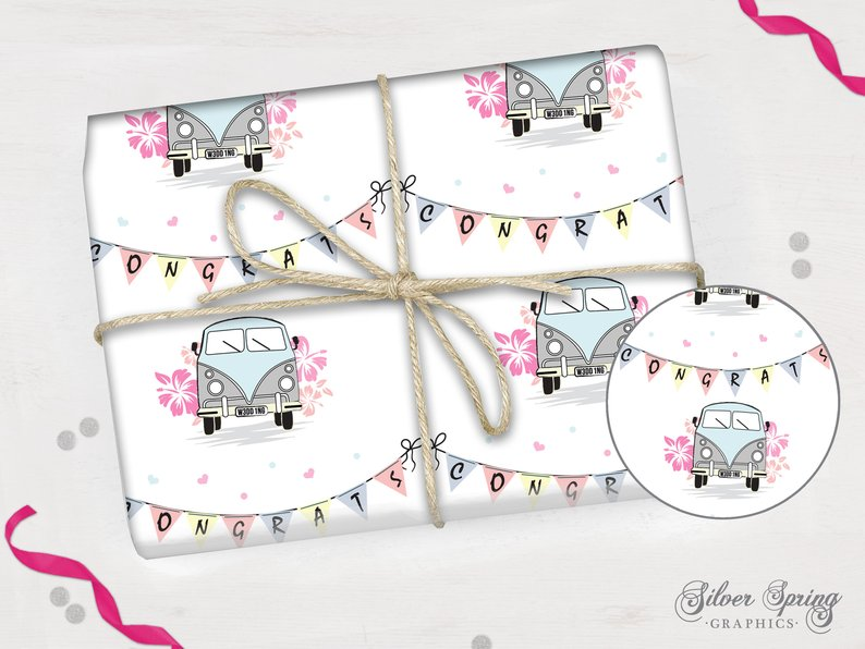 Campervan Congrats Wedding - Wrapping Paper