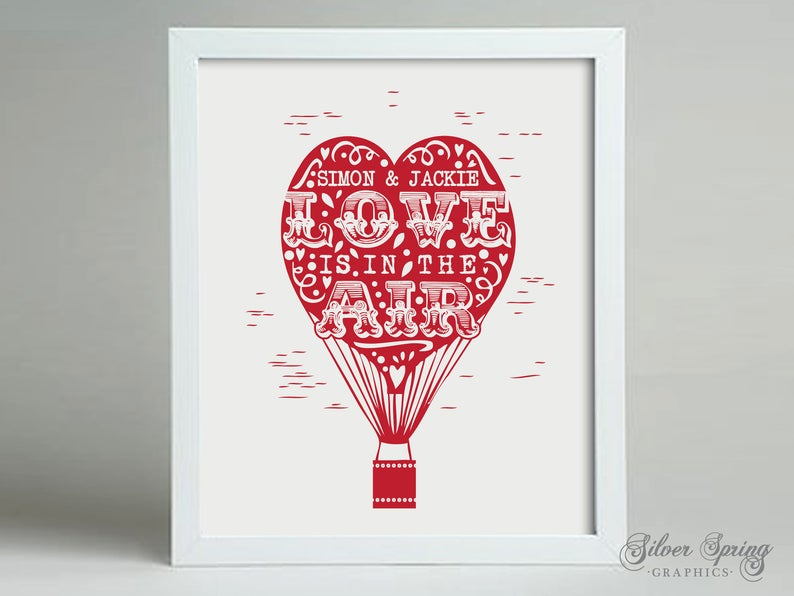 Love is in the Air, Hot Air Balloon Personalised Framed Print