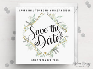 Greenery Geometric Save the Date Wedding Party Card