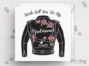 Biker Jacket Wedding Party Card