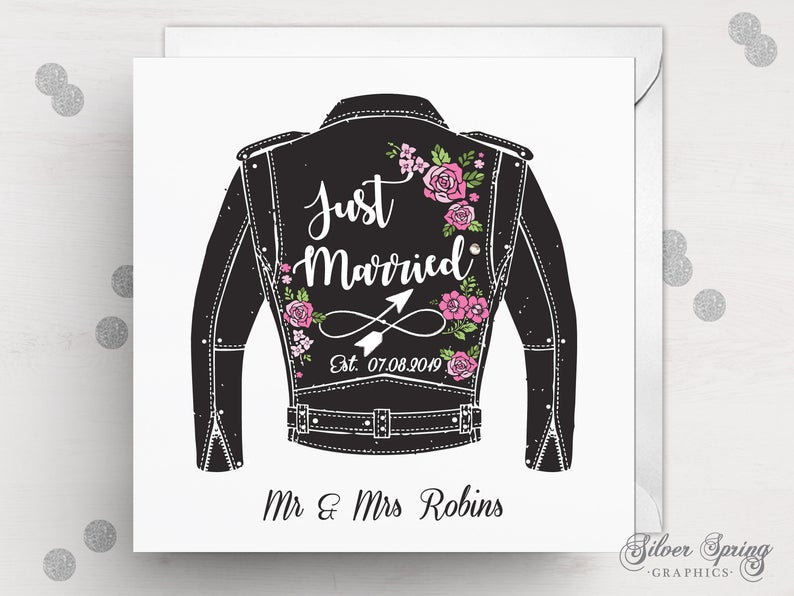 Biker Jacket Just Married Card