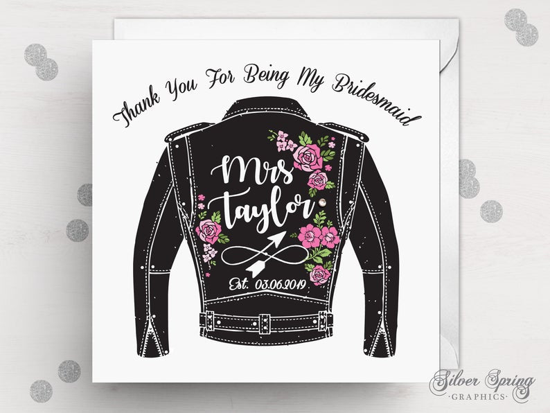 Biker Jacket Wedding Party Thank You Card