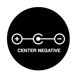 9v adapter cable center negative logo.
