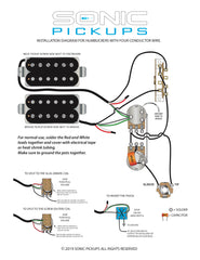 Wiring Diagram, Gibson, Les Paul, humbucker, dual, four conductor, 3 way blade
