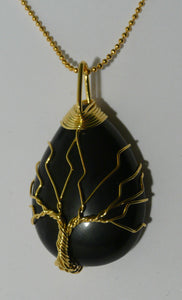 Tree of Life Wire Wrapped Tear Drop Pendant - Black Agate A
