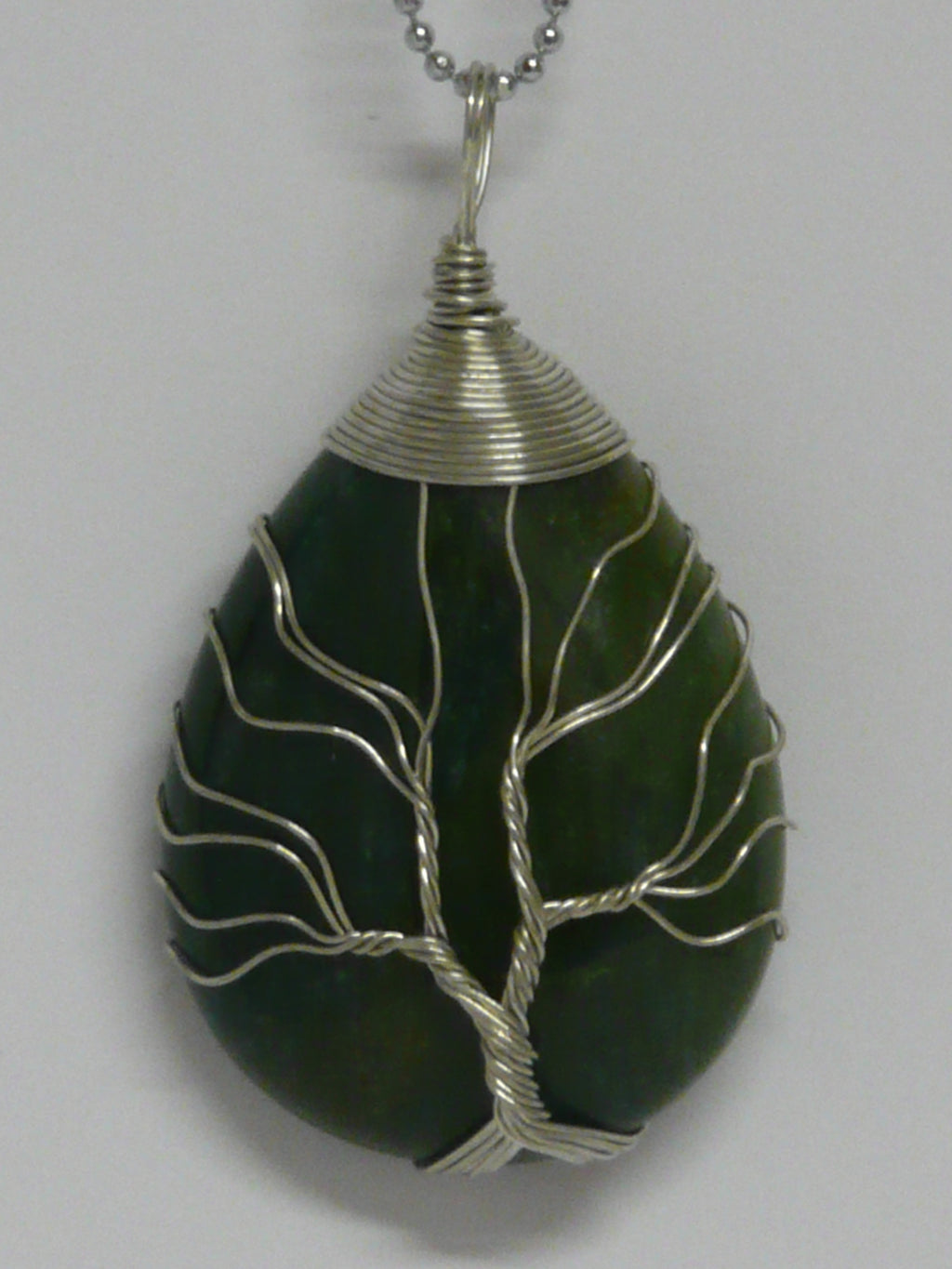 Tree of Life Wire Wrapped Tear Drop Pendant - Indian Agate - A