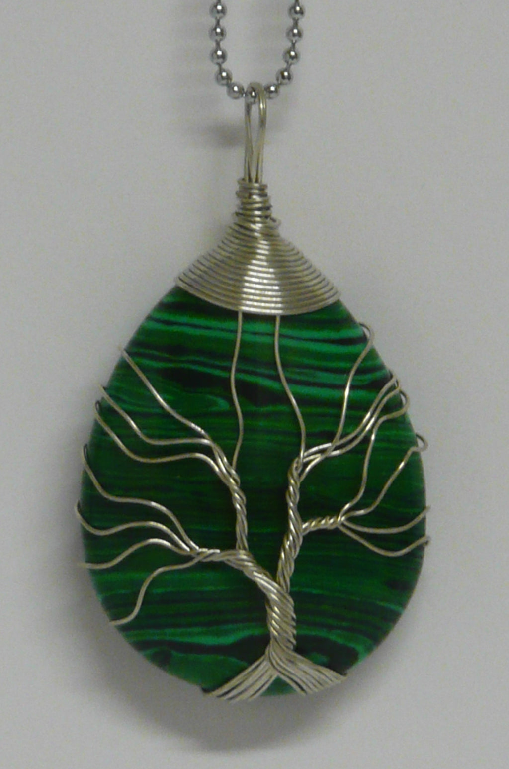 Tree of Life Wire Wrapped Tear Drop Pendant - Malachite - A