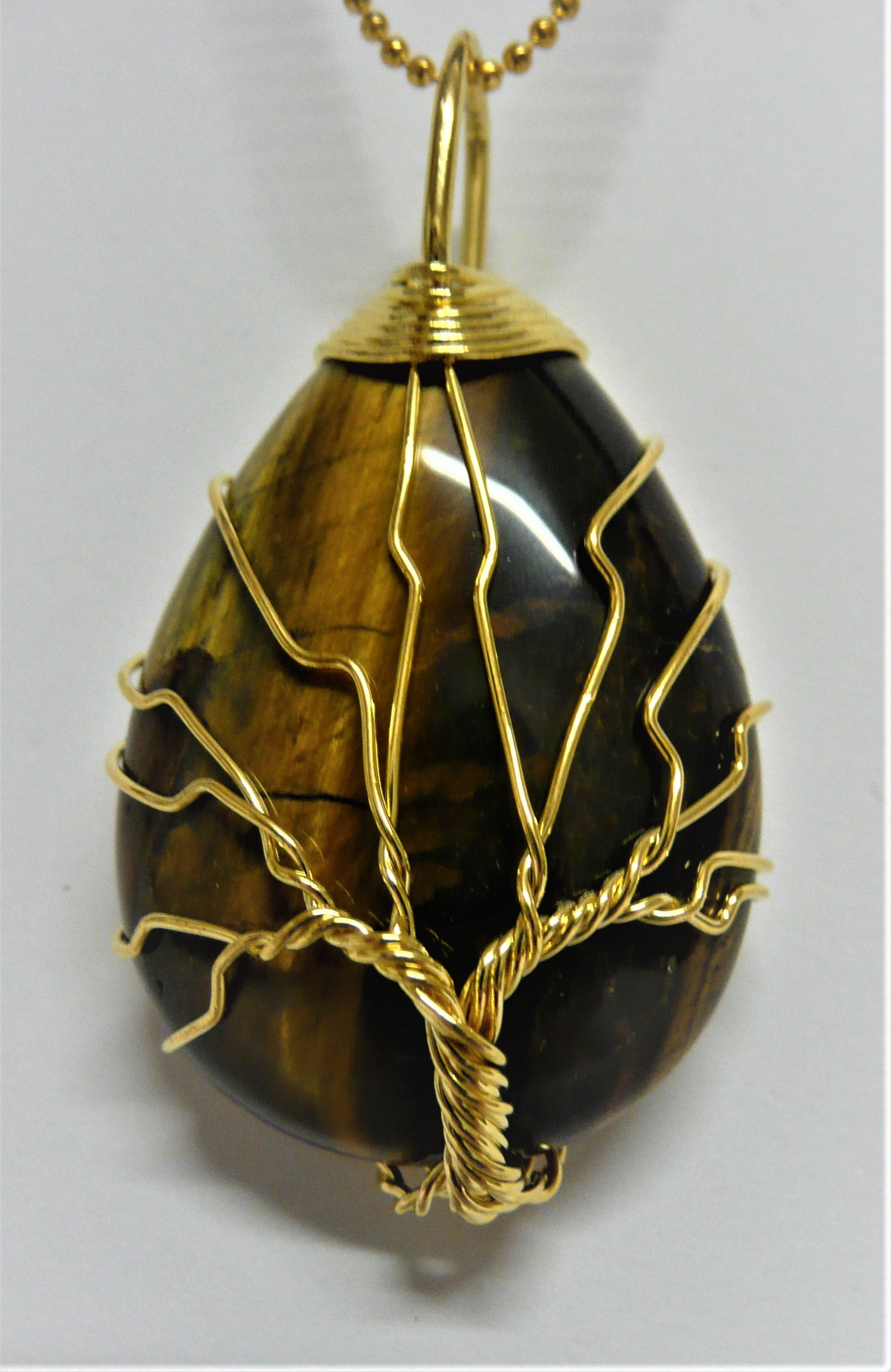 Tree of Life Wire Wrapped Tear Drop Pendant - Tiger Eye - A