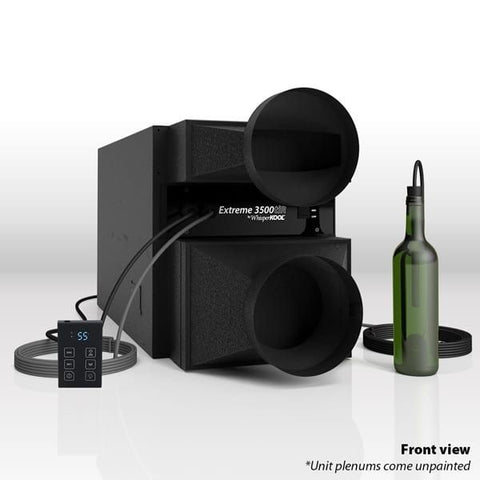 Whisperkool Extreme 3500tiR Fully Ducted Self Contained Wine Cooling Unit-Front View with Bottle Probe and Remote