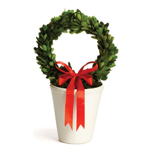 Boxwood Wreath in White pot SM