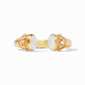 Savannah Hinge Cuff Gold Iridescent Clear Crystal Endcaps & Pearl Accents