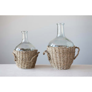 Glass Bottle with Woven Basket