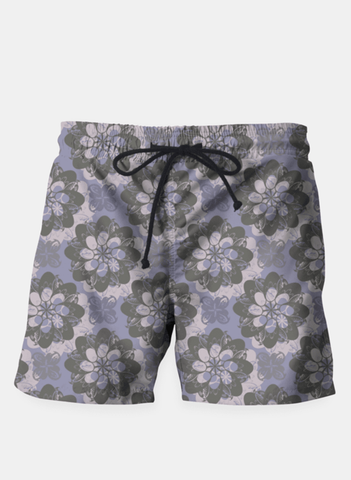 Gray Flower Swim Shorts