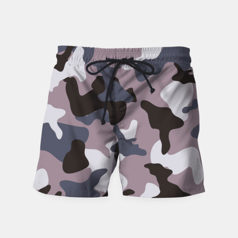 Gray Camouflage Swim Shorts