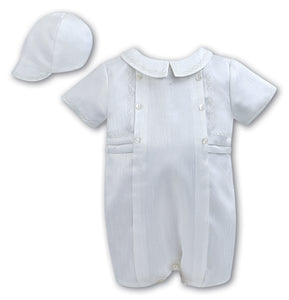 Baby Boys short romper all in one suit, christenings, baptism, special occasion