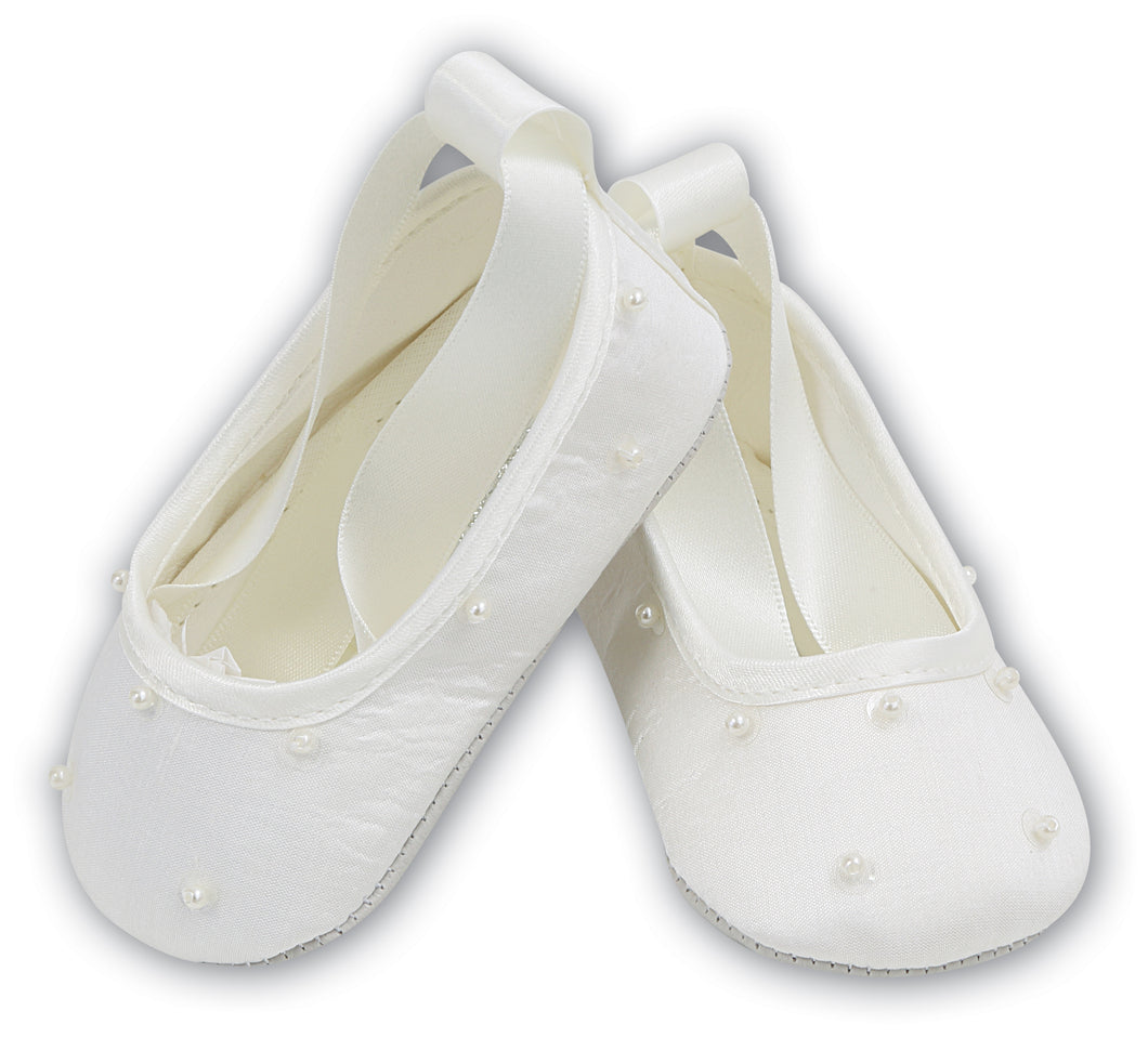 Sarah Louise baby girls white ballet shoes special occasion shoes