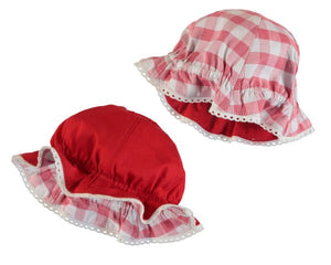 Mayoral Newborn Red Plaid Reversible Hat