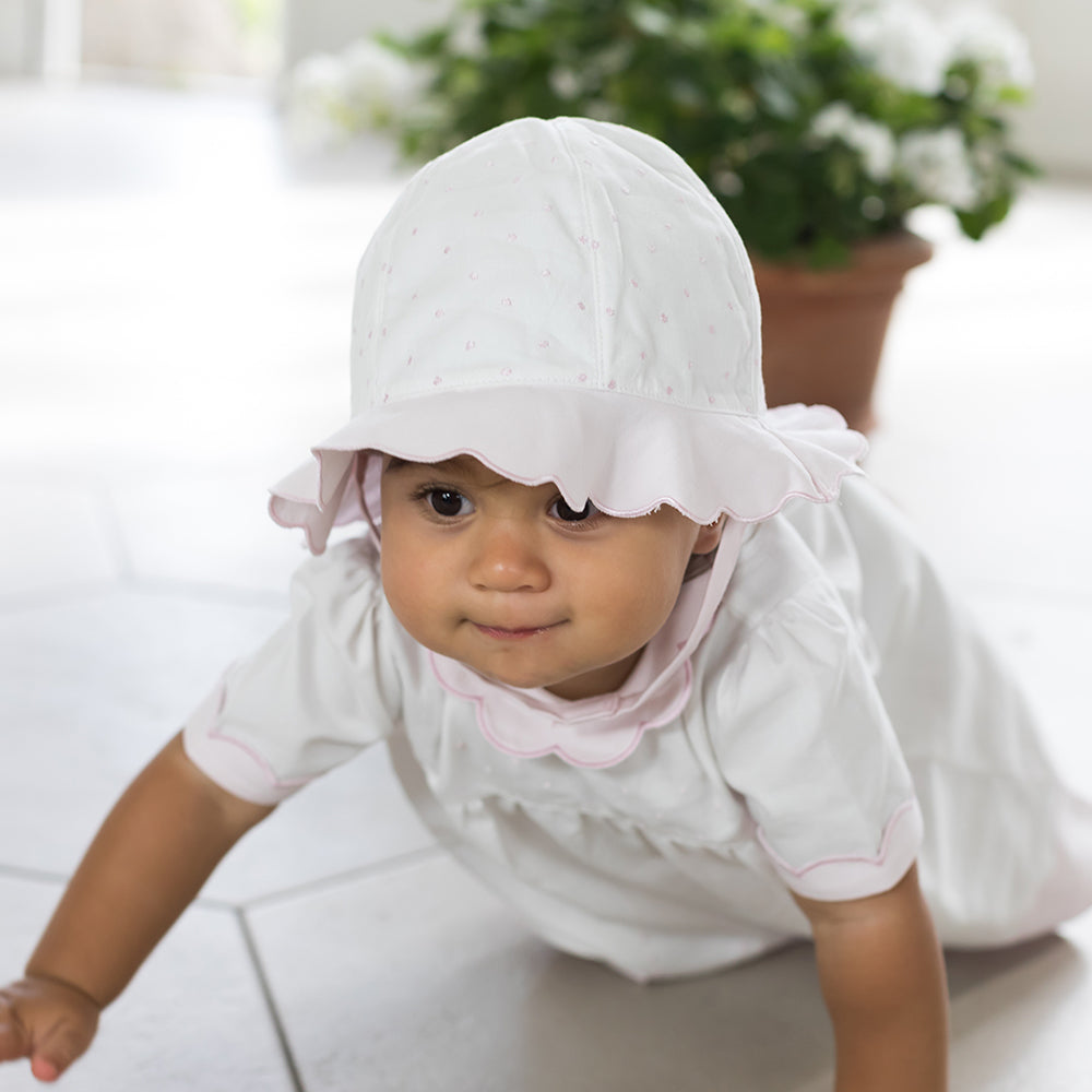 Emile et Rose - Baby Girl - White and Pale Pink Suncap with Spot Detail - SS19
