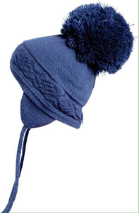 Satila navy blue pom pom hat