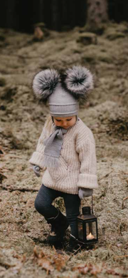 Satila Tindra Grey Faux Fur Double Pom Pom C81807