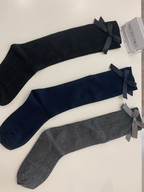 Girls Knee High School Socks - Grey, Black & Navy