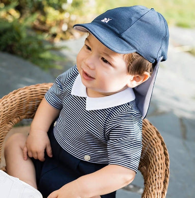 Emile et Rose - Baby Boys - Navy Blue Suncap with detachable neck flap