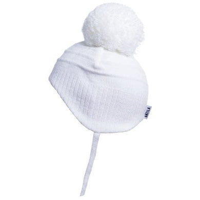 Satila tiny newborn white pom pom hat