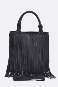 Fringe Leather Handle Shoulder Bag