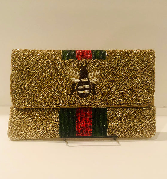 Gucci inspired Butterfly Beaded Clutch