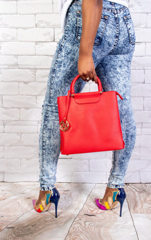 Letty Satchel Bucket Bag- Red