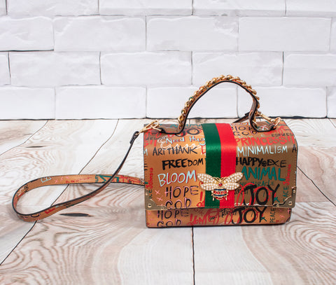 Graffiti Box Satchel, with Wallet  - Chocolate Brown