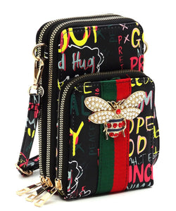 Graffiti Bee -Crossbody/Cellphone Bag - Black