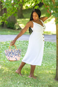 Flower Bed Wicker Tote Bag