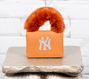 NY Fur Handle  Bag - Camel