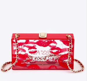 """Kiss Me"" Clear Box Clutch"