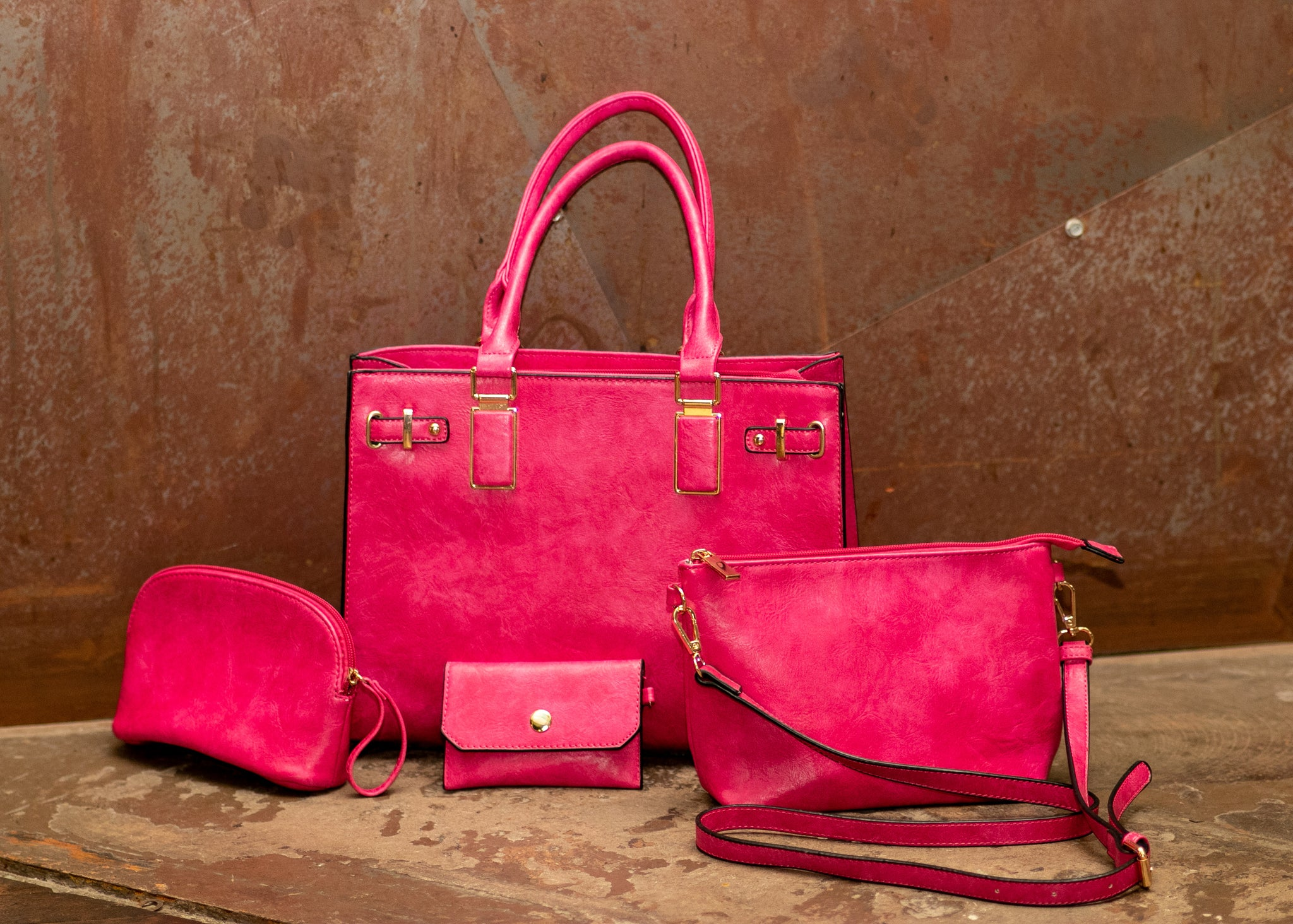 Pink Business Tote Set - 4 piece