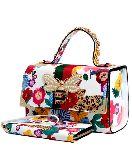 Flower Bee Box Satchel, with Wallet