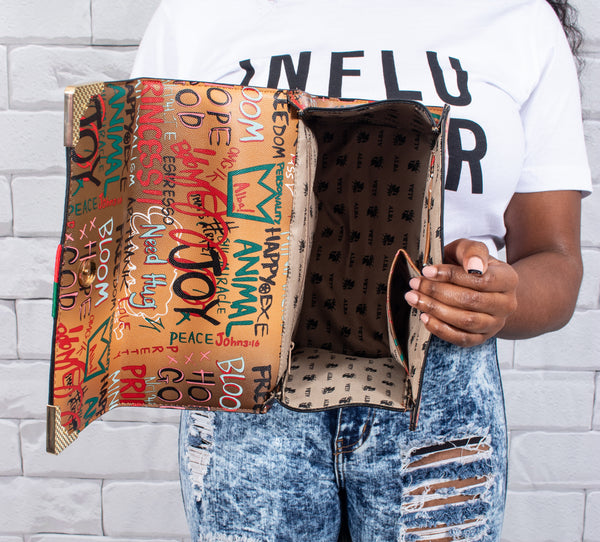 Graffiti Bee Box Satchel, with Wallet  - Chocolate Brown