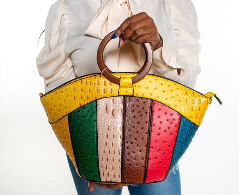 Croc Patchwork Satchel - yellow
