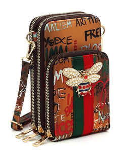 Graffiti Bee -Crossbody/Cellphone Bag - Brown