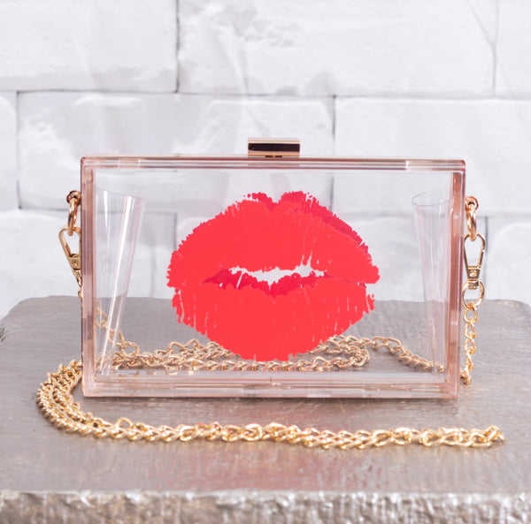 Red Pucker Lips Clutch