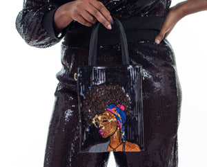 Mohawk Goddess Sequin Purse - Black